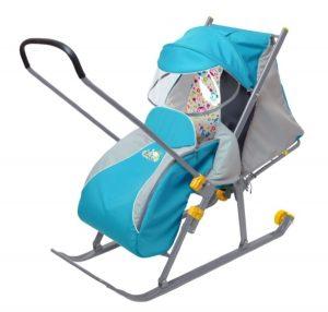 Детские сани-коляска с перекидной ручкой